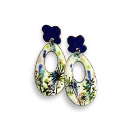 Pendientes ovalados con florecillas azules (LT000224)
