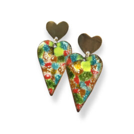 Pendientes corazones largos de colores (LT000228)